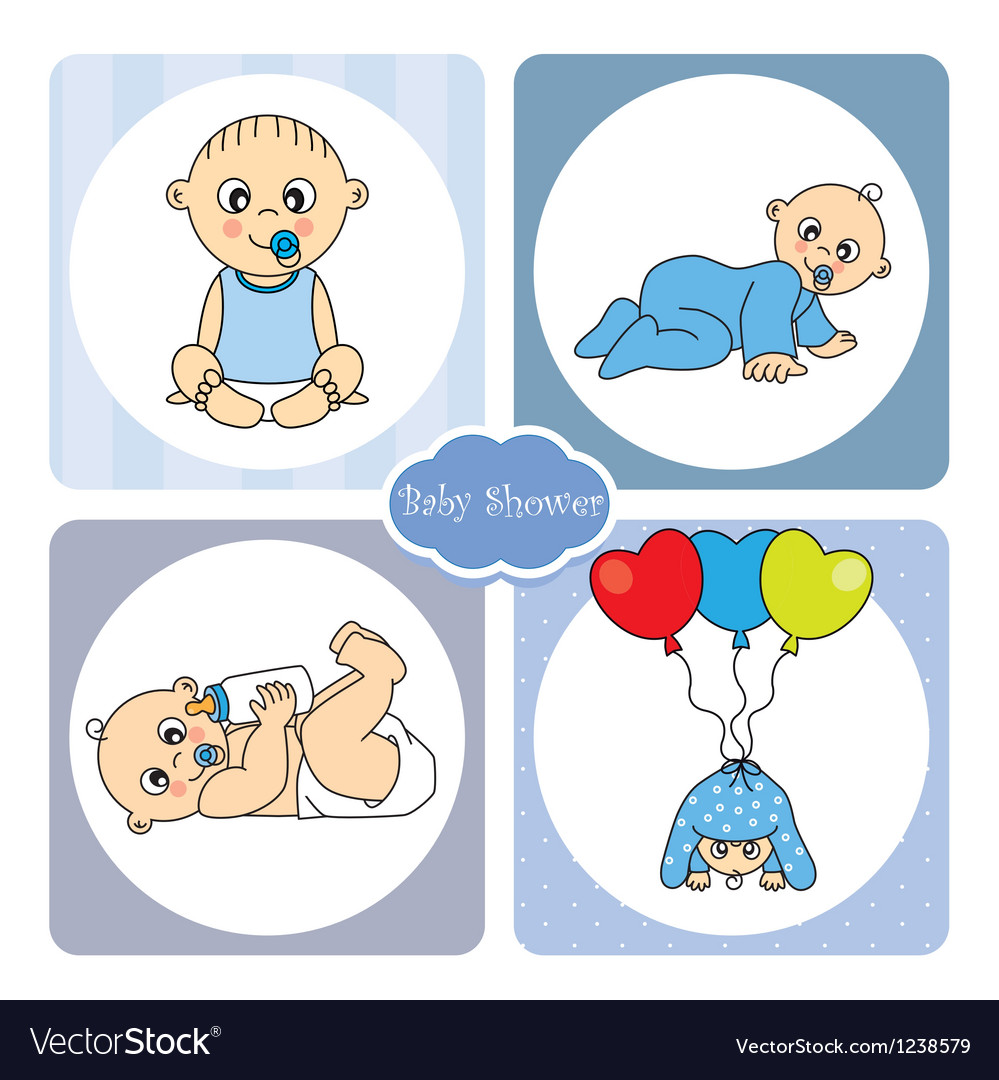 Baby boy arrival announcement card vector | Price: 1 Credit (USD $1)