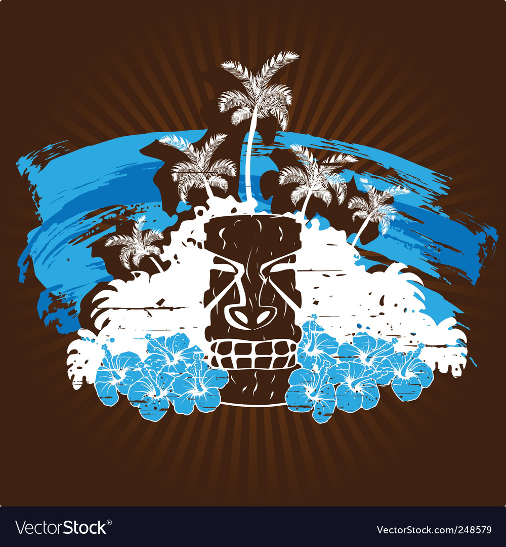 Blue and brown tropical grunge vector | Price: 1 Credit (USD $1)