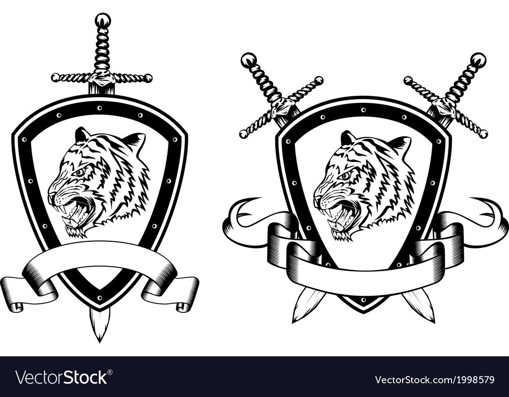 Board and sword with tiger2 vector | Price: 1 Credit (USD $1)