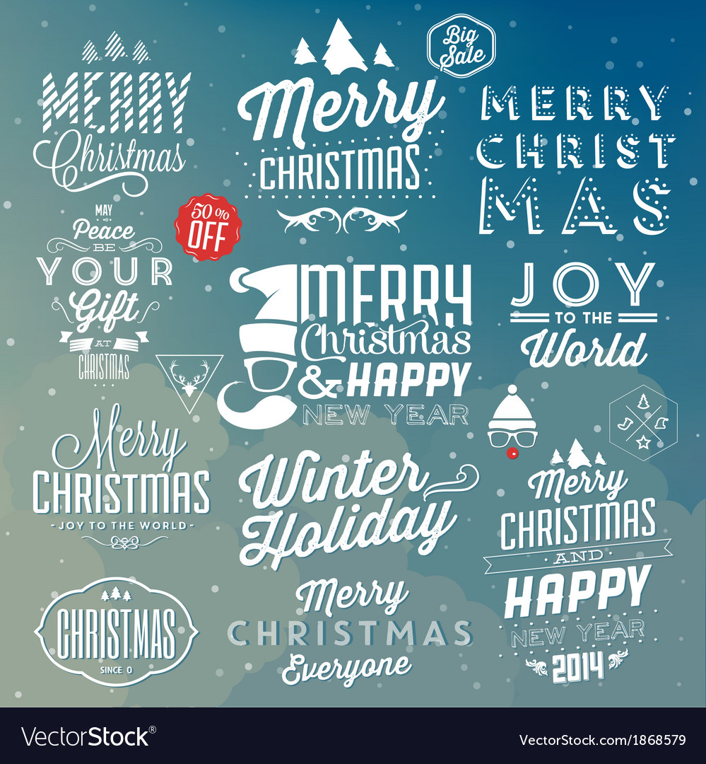 Collection of typographic christmas design vector | Price: 1 Credit (USD $1)