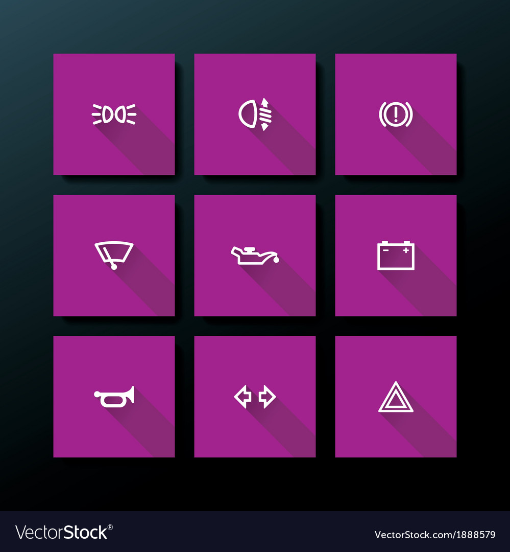 Flat car dashboard icon set vector | Price: 1 Credit (USD $1)