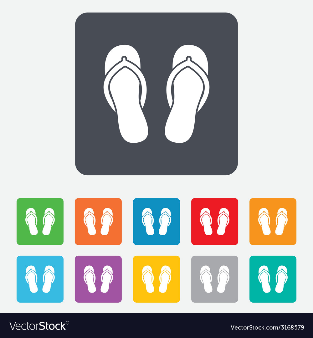 Flip-flops sign icon beach shoes vector | Price: 1 Credit (USD $1)