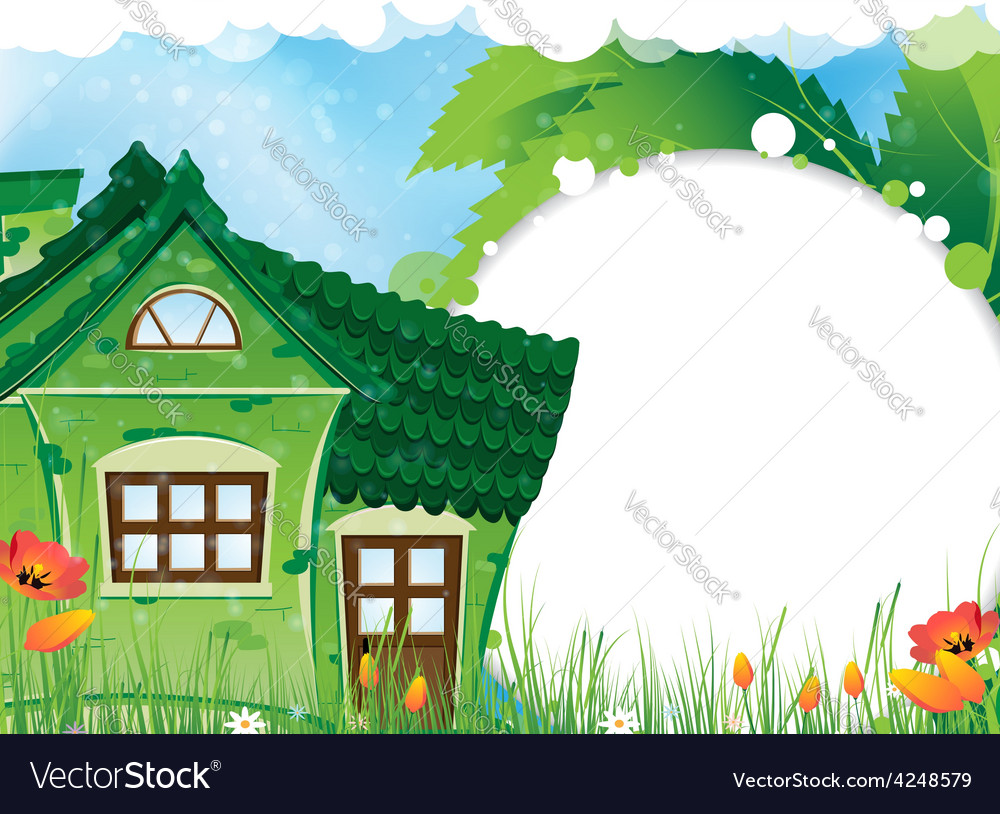 Green rural house vector | Price: 3 Credit (USD $3)