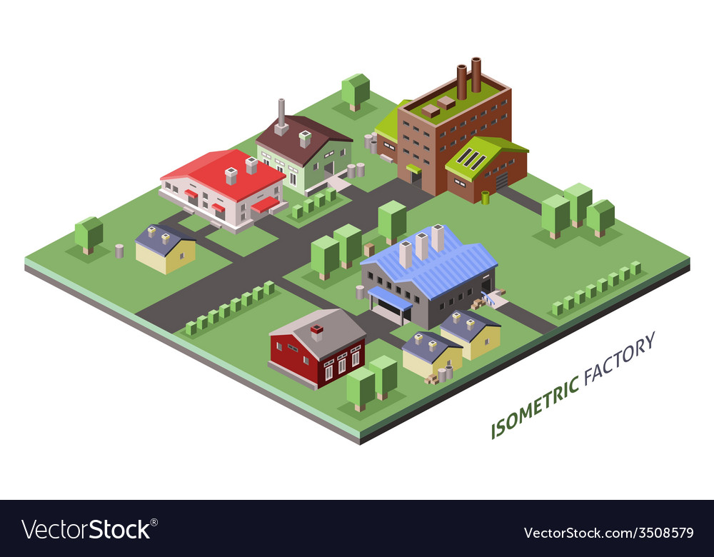 Isometric factory buildings vector | Price: 1 Credit (USD $1)