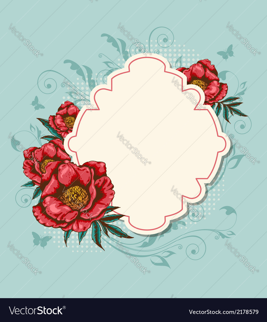 Label and red peony vector | Price: 1 Credit (USD $1)