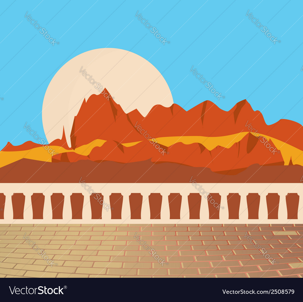 Mountain scene from balcony vector | Price: 1 Credit (USD $1)