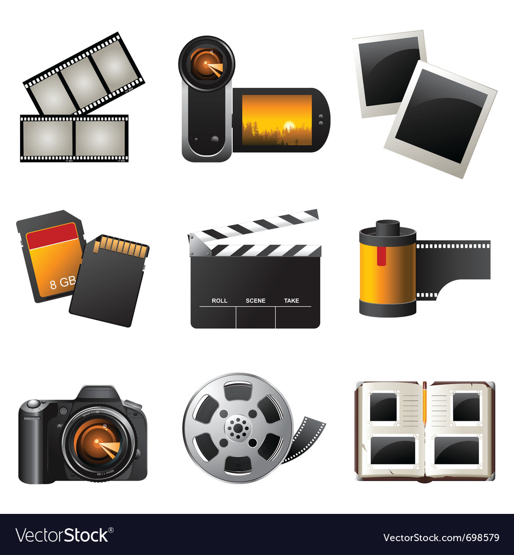 Photo and video icons set vector | Price: 3 Credit (USD $3)