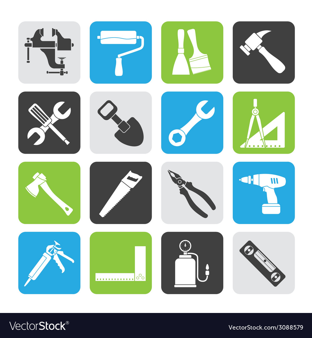Silhouette building and construction work tool vector | Price: 1 Credit (USD $1)