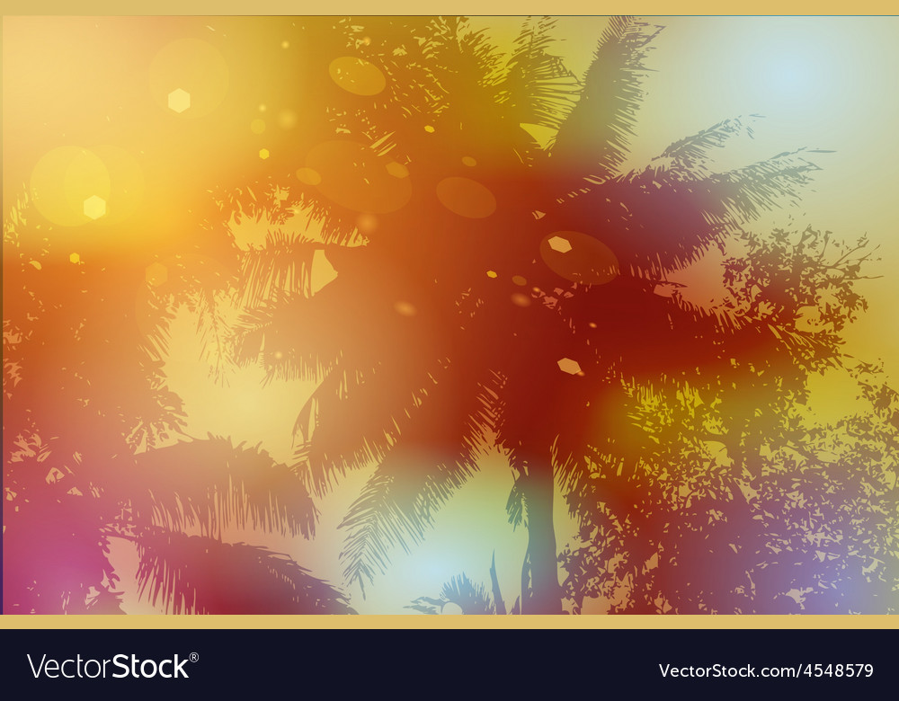 Sky palm trees sunset sun glare vector | Price: 1 Credit (USD $1)