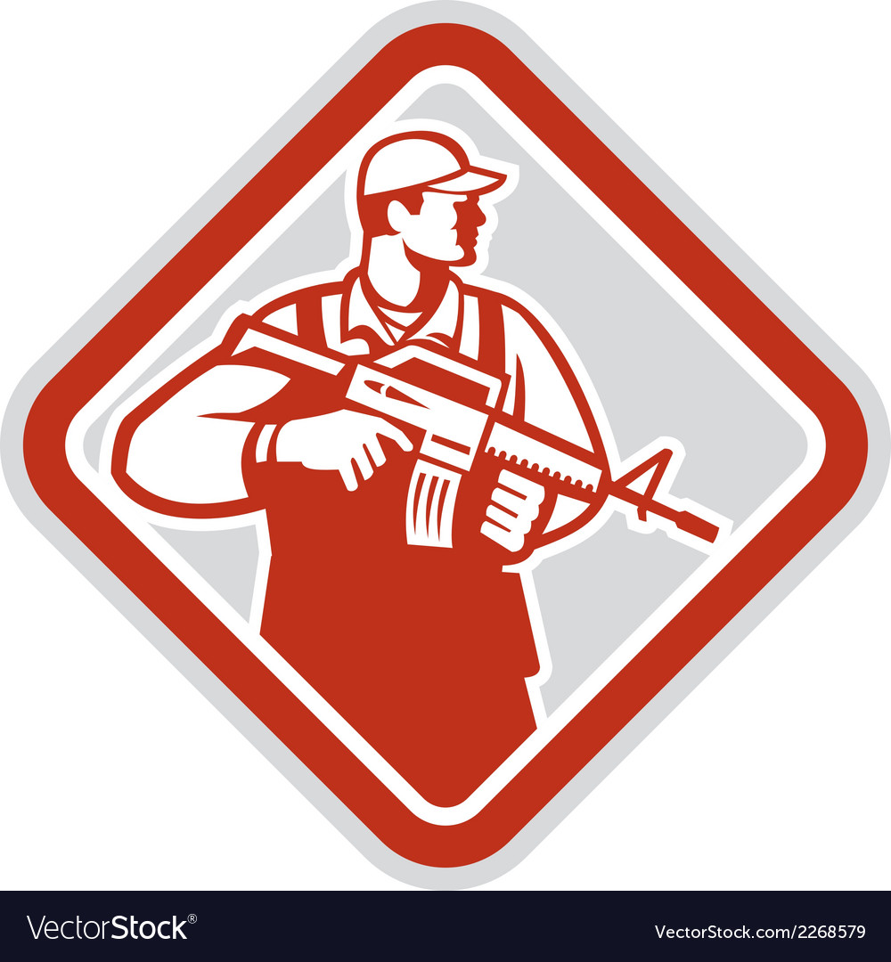 Soldier serviceman military assault rifle shield vector | Price: 1 Credit (USD $1)