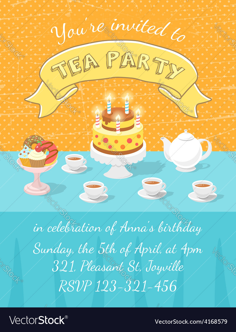 Tea party invitation template vector | Price: 3 Credit (USD $3)