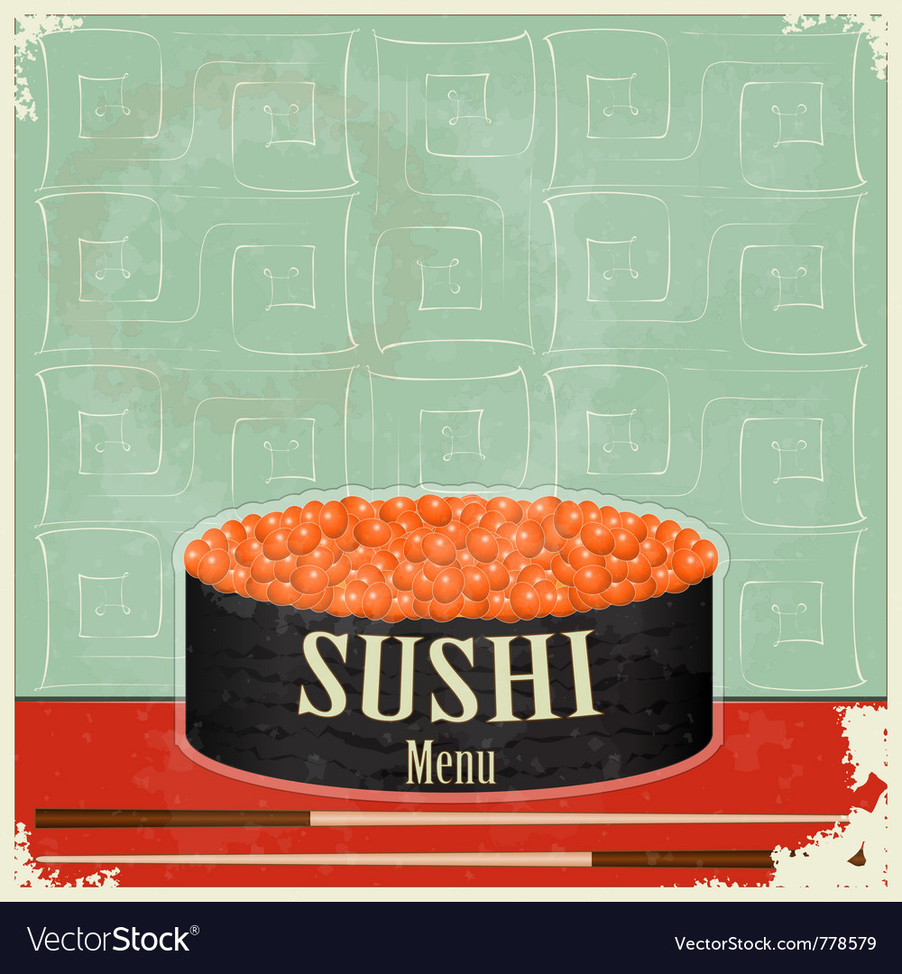 Vintage sushi menu vector | Price: 1 Credit (USD $1)