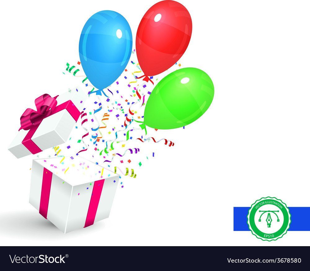 Gift with confetti and balloons background vector | Price: 1 Credit (USD $1)
