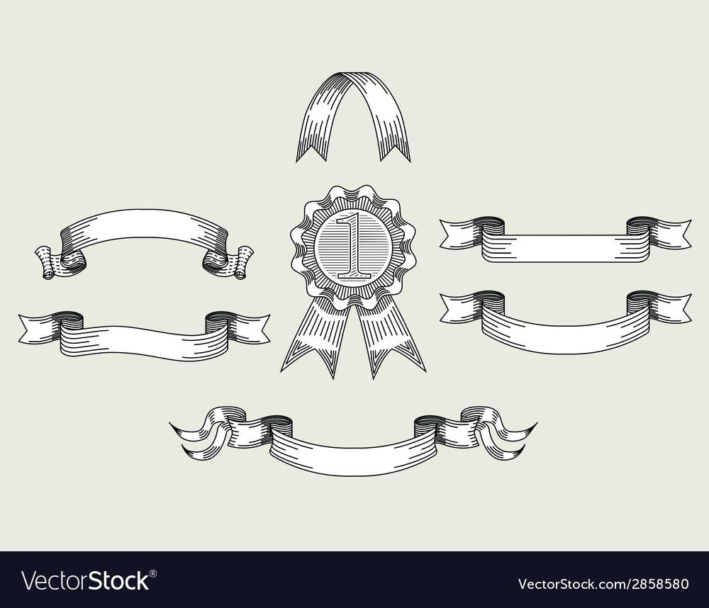 Retro vintage ribbons set vector | Price: 1 Credit (USD $1)