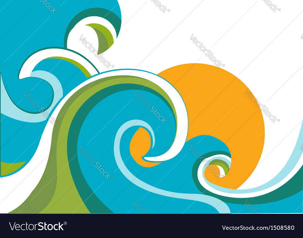 Sea with waves and sun vector | Price: 1 Credit (USD $1)