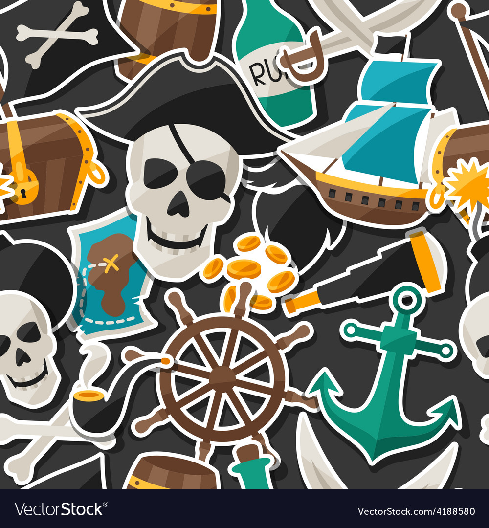 Seamless pattern on pirate theme with stickers and vector | Price: 1 Credit (USD $1)