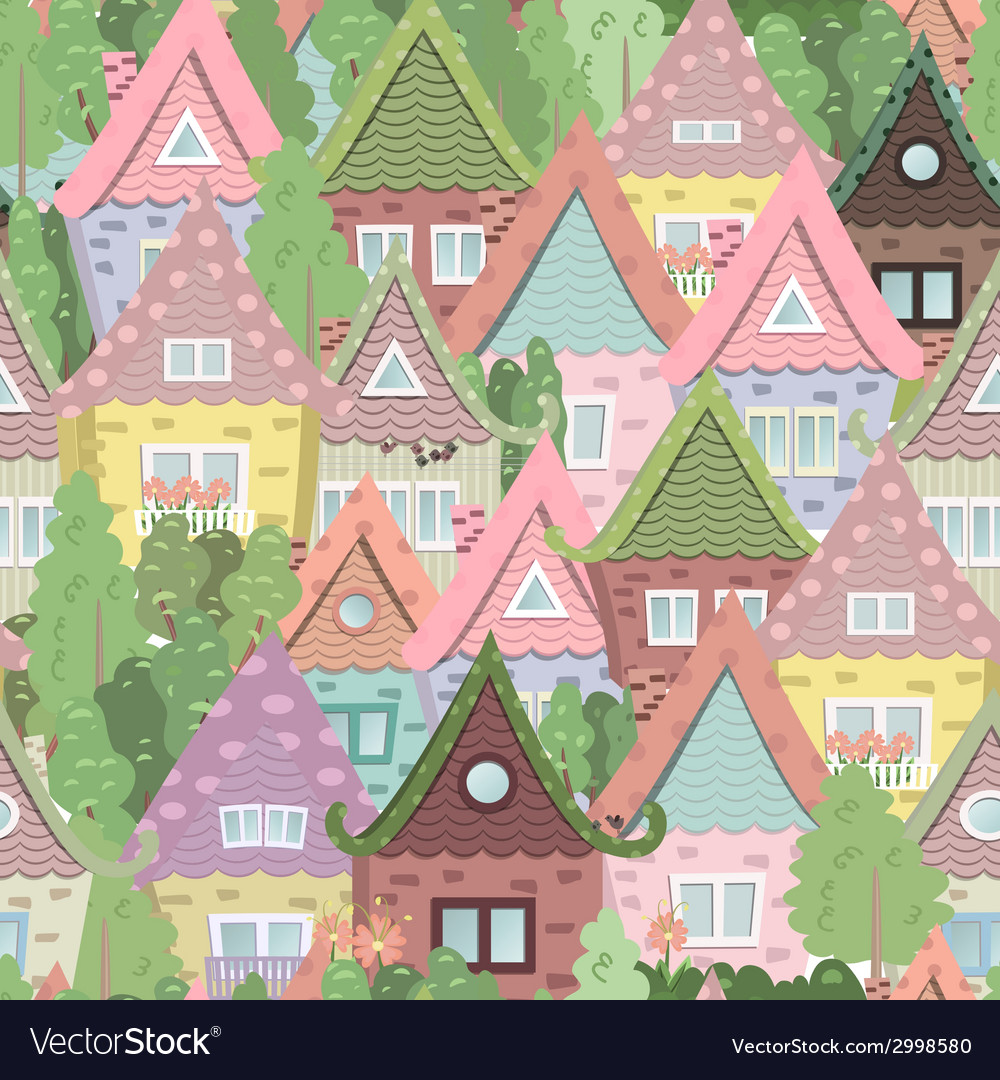 Seamless texture with cute houses vector | Price: 1 Credit (USD $1)