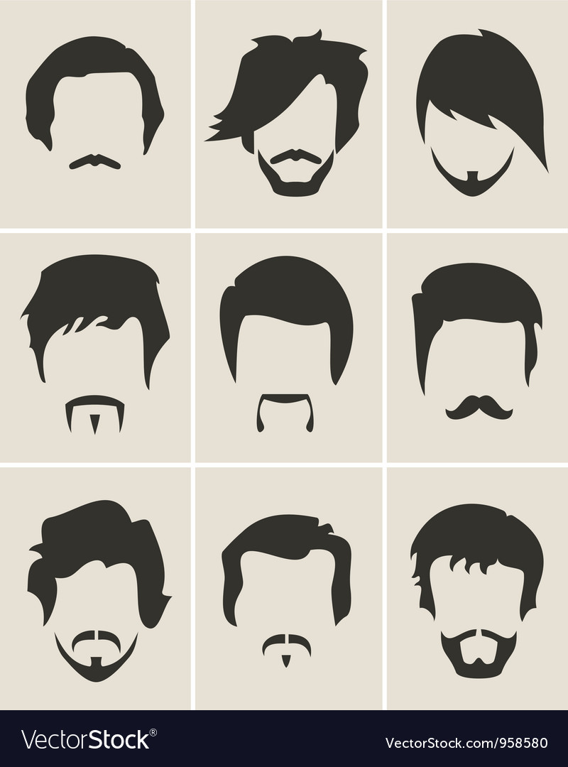 Set of hairmustachebeard silhouettes vector | Price: 1 Credit (USD $1)