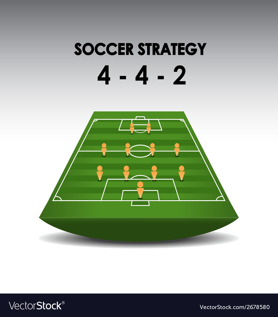 Soccer strategy plan 4-4-2 vector | Price: 1 Credit (USD $1)