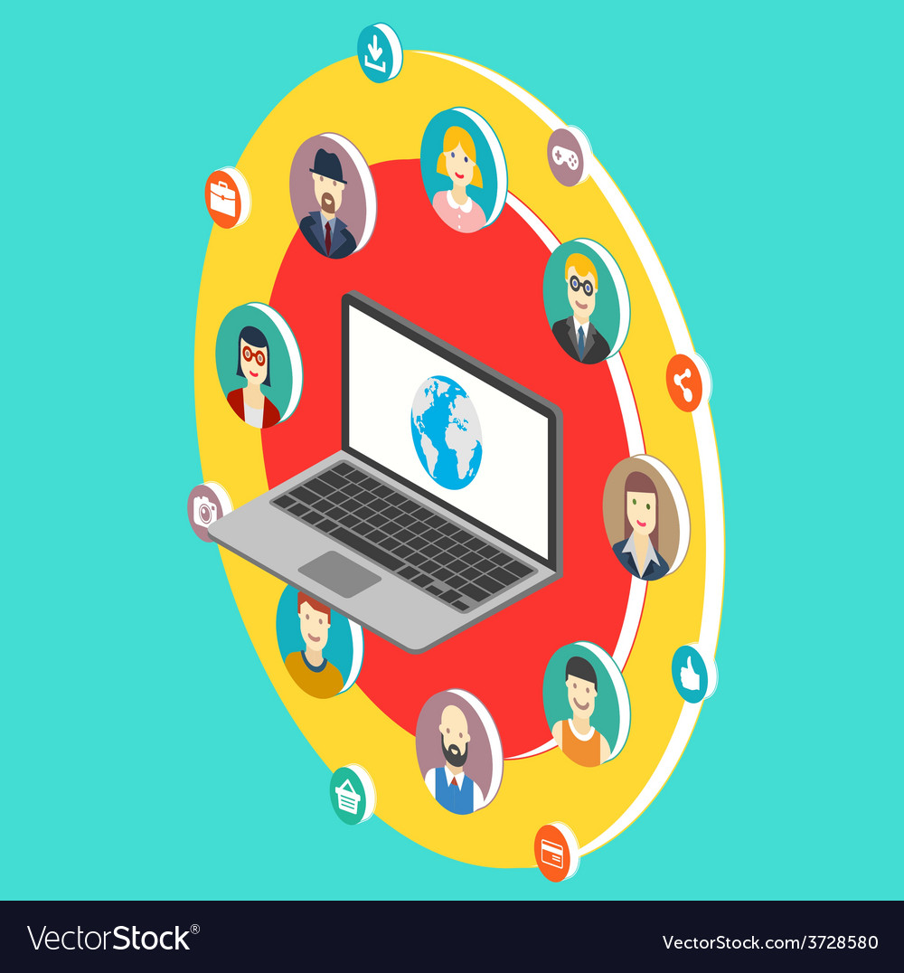 Social network isometry with avatars vector | Price: 1 Credit (USD $1)