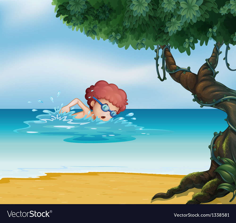 A young man swimming at the beach with an old tree vector | Price: 1 Credit (USD $1)
