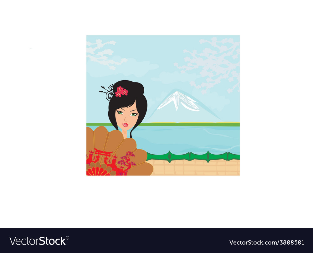 Attractive asian woman holding traditional fan vector | Price: 1 Credit (USD $1)