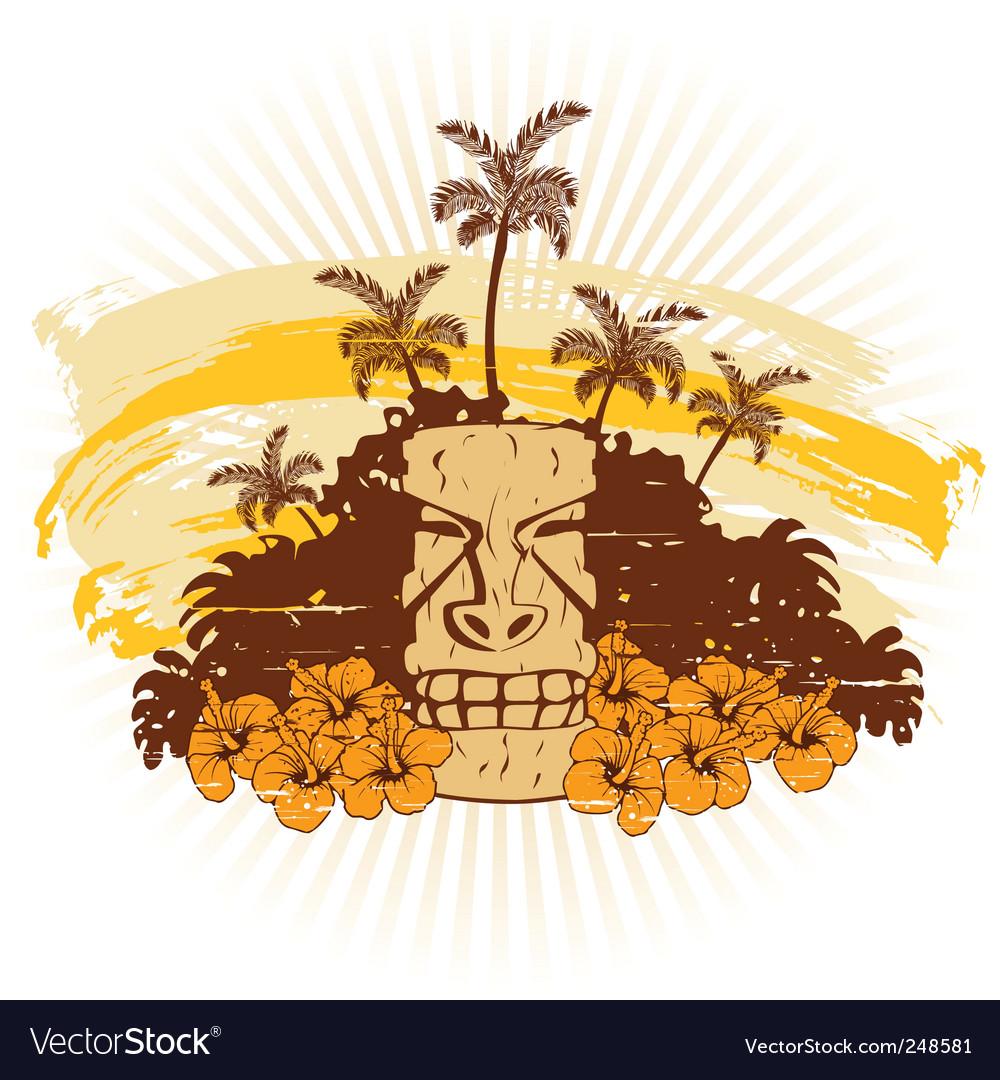 Beige and orange hawaii grunge vector | Price: 1 Credit (USD $1)
