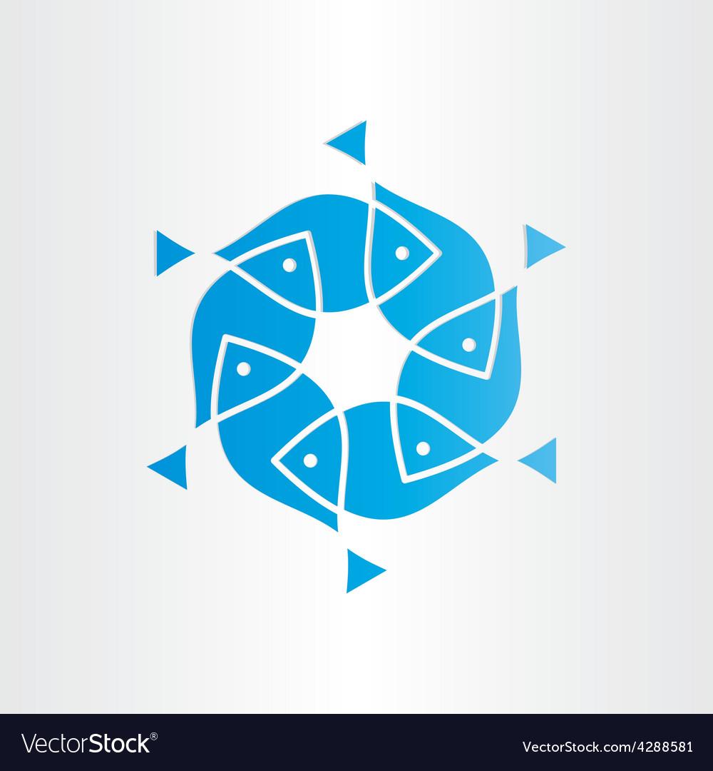 Blue fish in circle design element vector