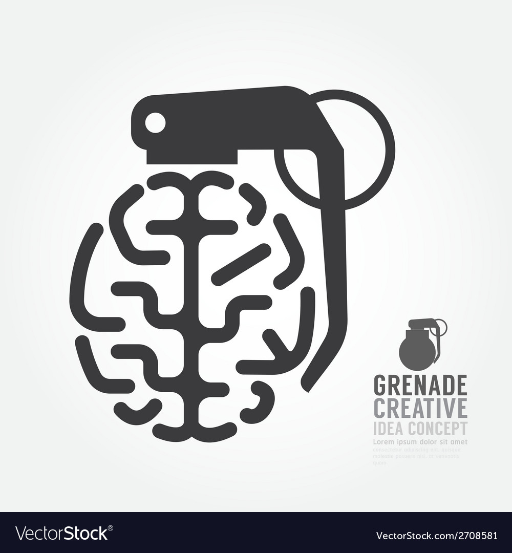 Brain distortion from grenade concept engine vector | Price: 1 Credit (USD $1)