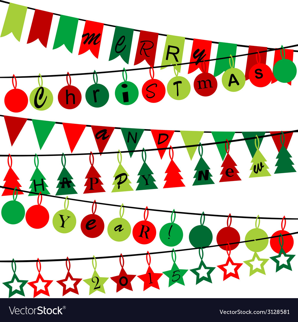 Decorative bunting with merry christmas and happy vector | Price: 1 Credit (USD $1)