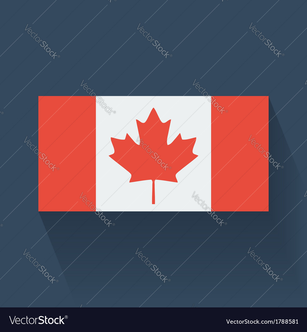 Flat flag of canada vector | Price: 1 Credit (USD $1)
