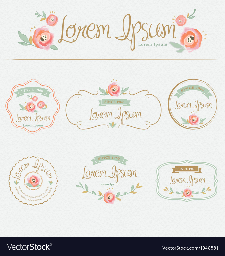 Floral brand and identity design element vector