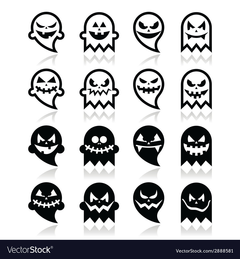 Halloween scary ghost black icons set vector | Price: 1 Credit (USD $1)