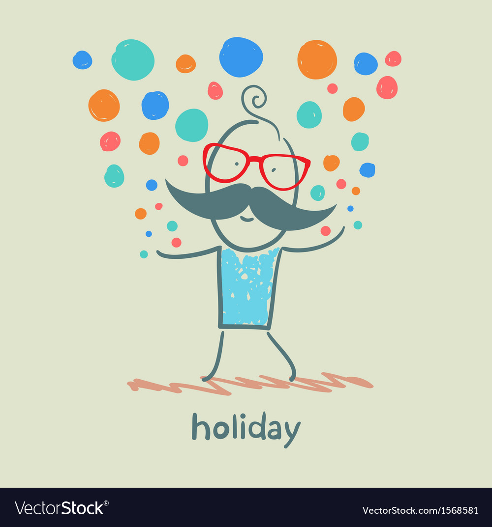 Holiday at the person with colorful fireworks vector | Price: 1 Credit (USD $1)