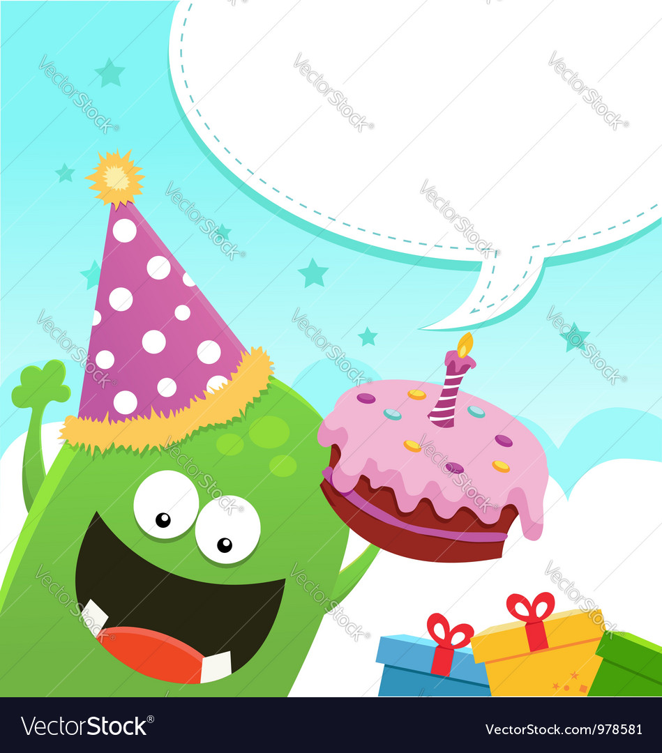 Monster birthday message vector | Price: 1 Credit (USD $1)