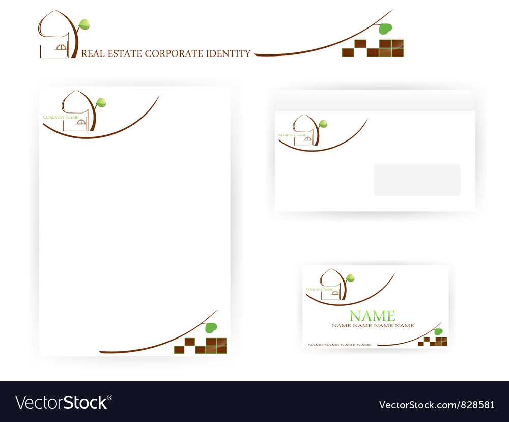 Real estate corporate identity templates vector | Price: 1 Credit (USD $1)
