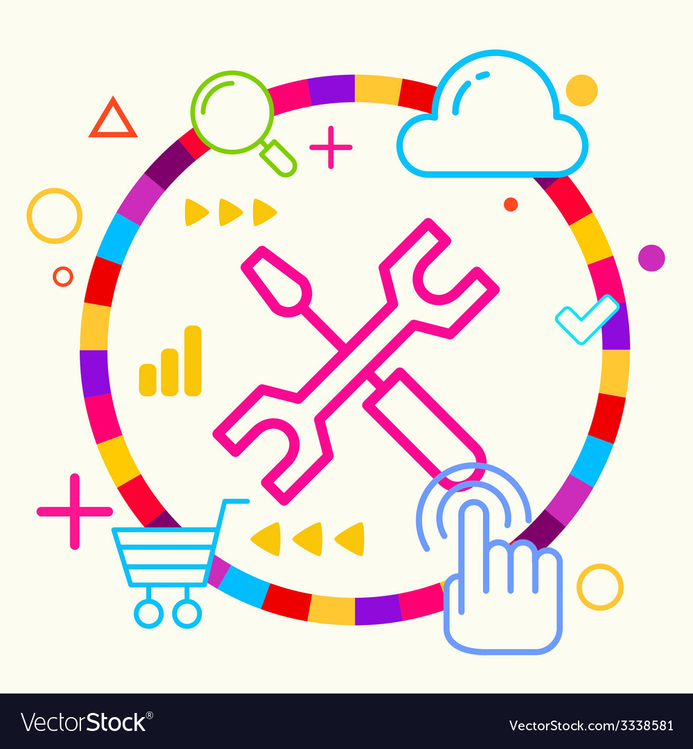 Screwdriver and wrench on abstract colorful vector | Price: 3 Credit (USD $3)
