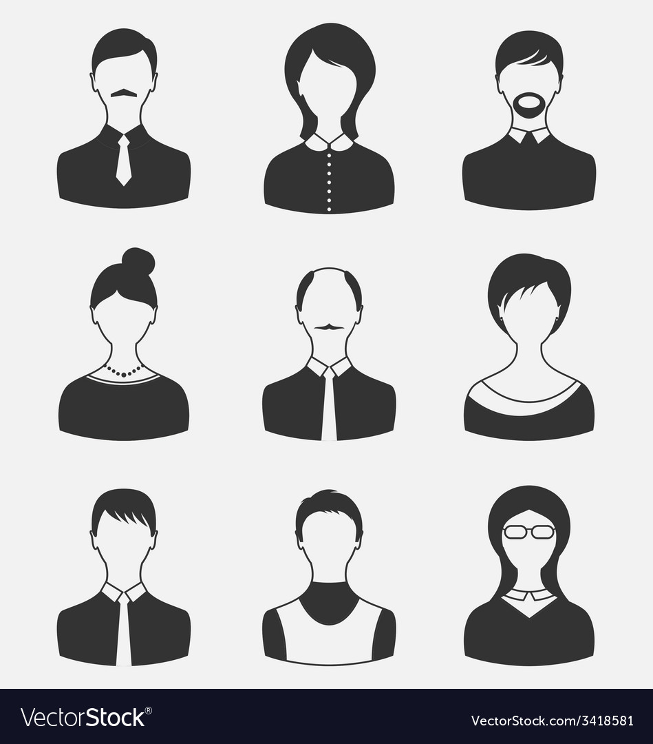Set business people different male and female user vector | Price: 1 Credit (USD $1)