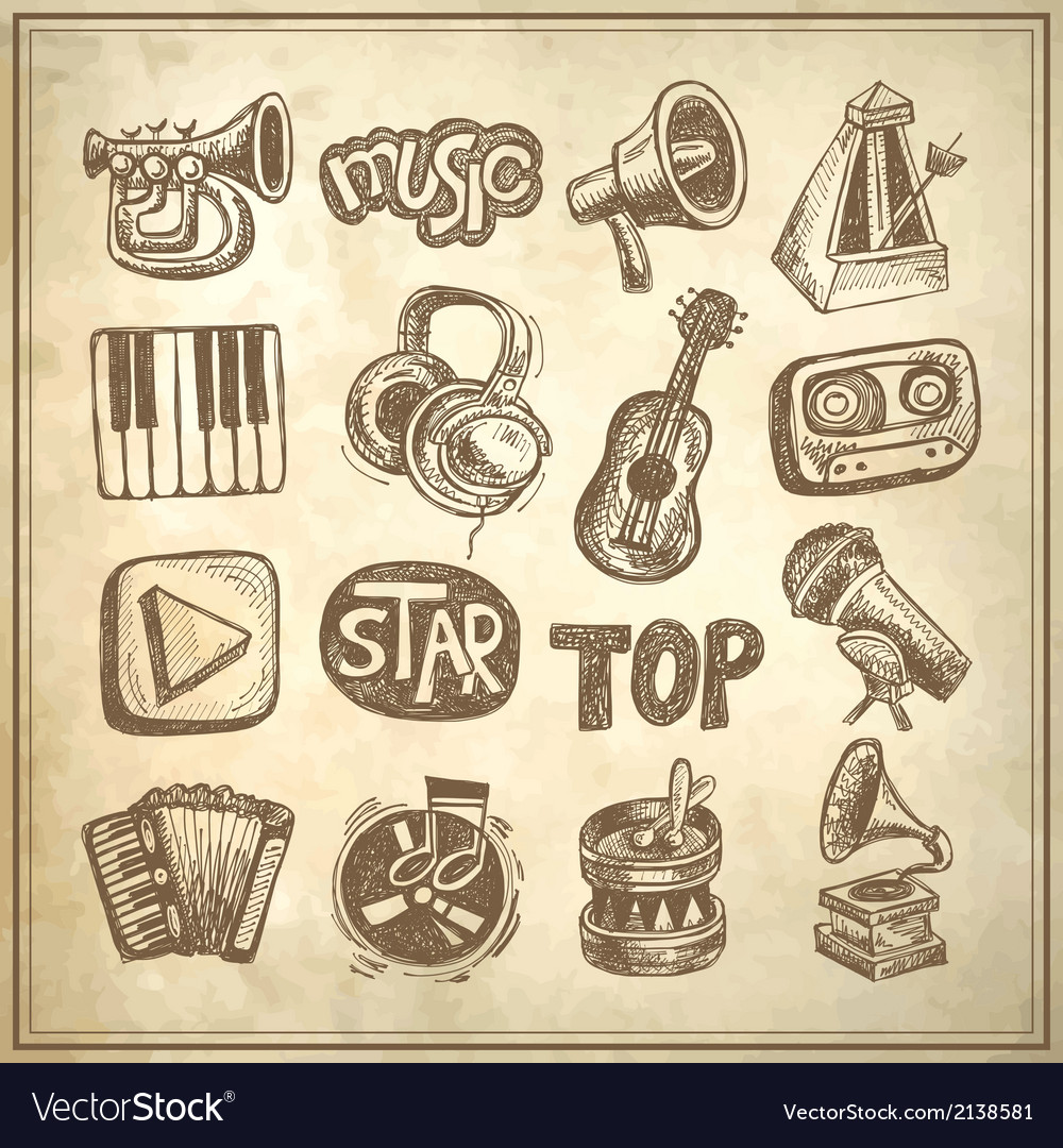 Sketch music icon element vector | Price: 1 Credit (USD $1)
