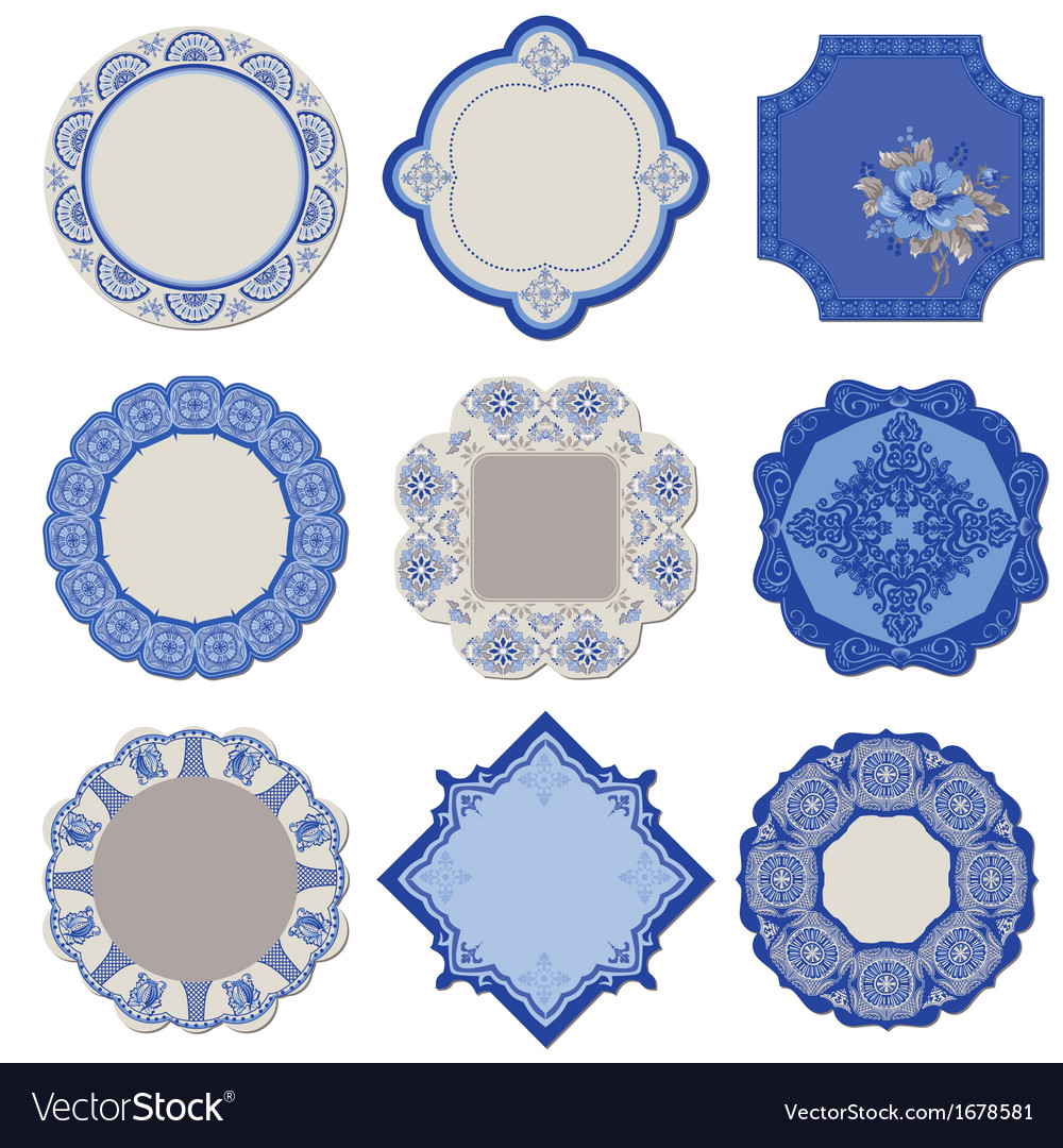 Victorian tags and frames - porcelain vintage set vector | Price: 1 Credit (USD $1)