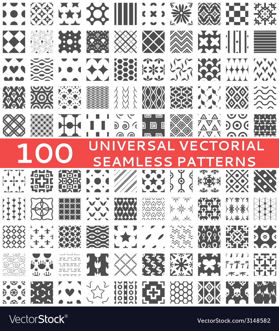100 universal different seamless patterns vector | Price: 1 Credit (USD $1)