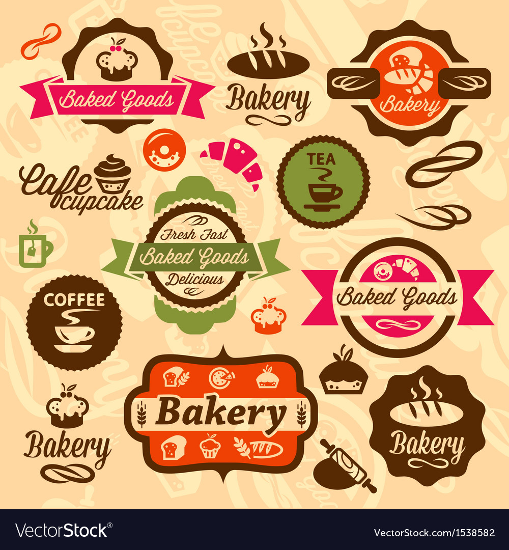 Bakery badges and label vector