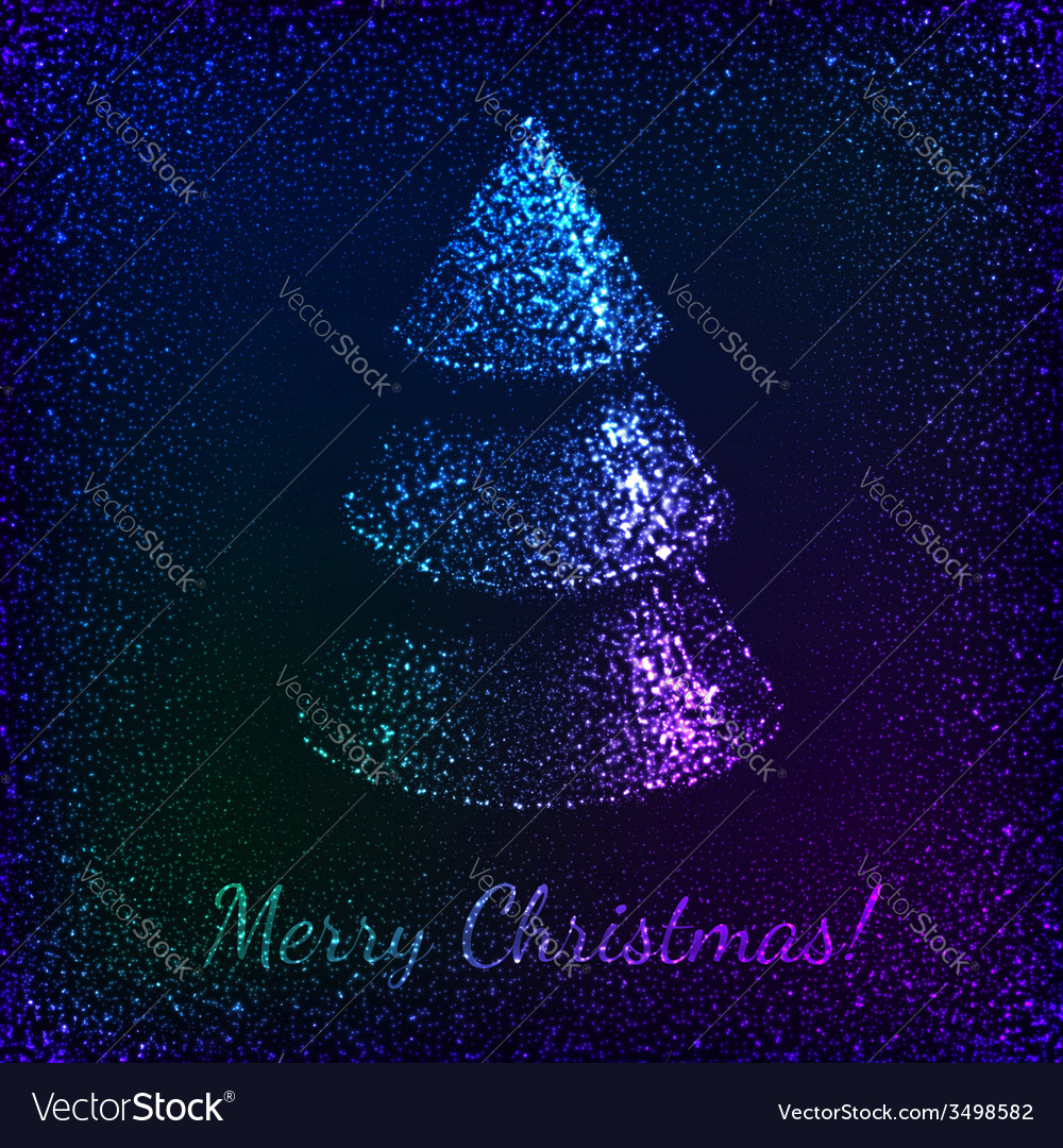 Blue shining glitter christmas tree greeting card vector | Price: 1 Credit (USD $1)