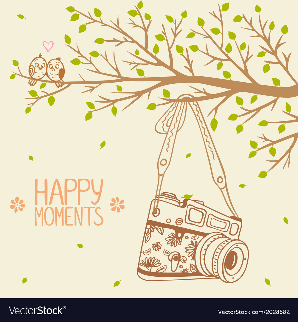 Camera and tree vector | Price: 1 Credit (USD $1)