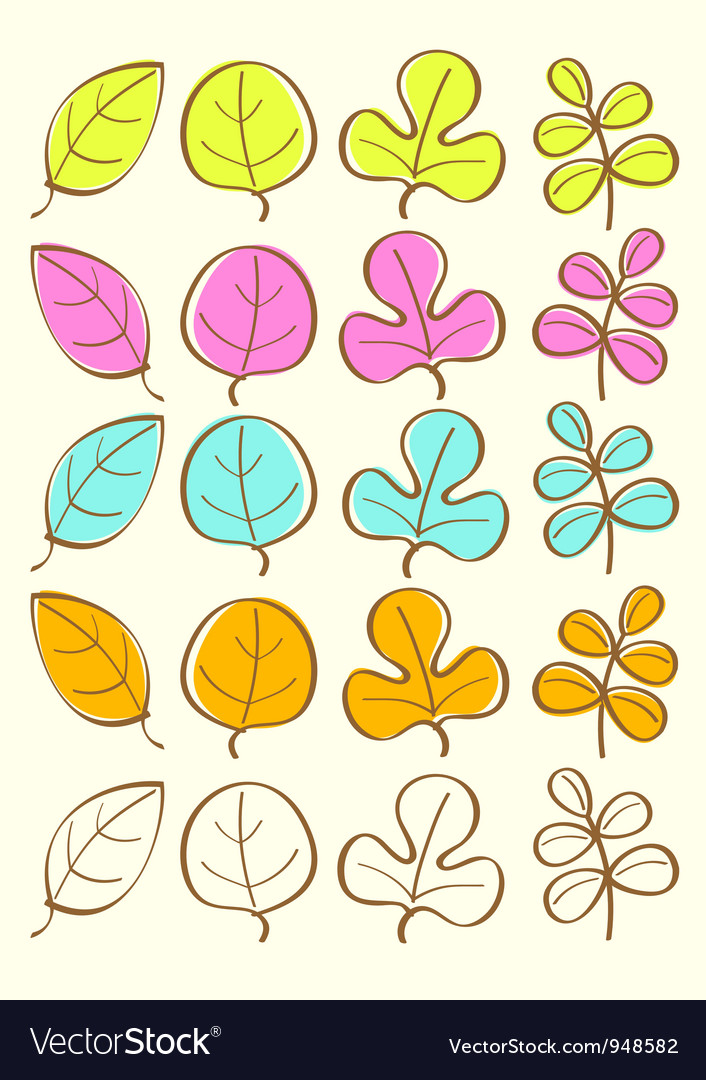 Colored autumn leaves vector | Price: 1 Credit (USD $1)
