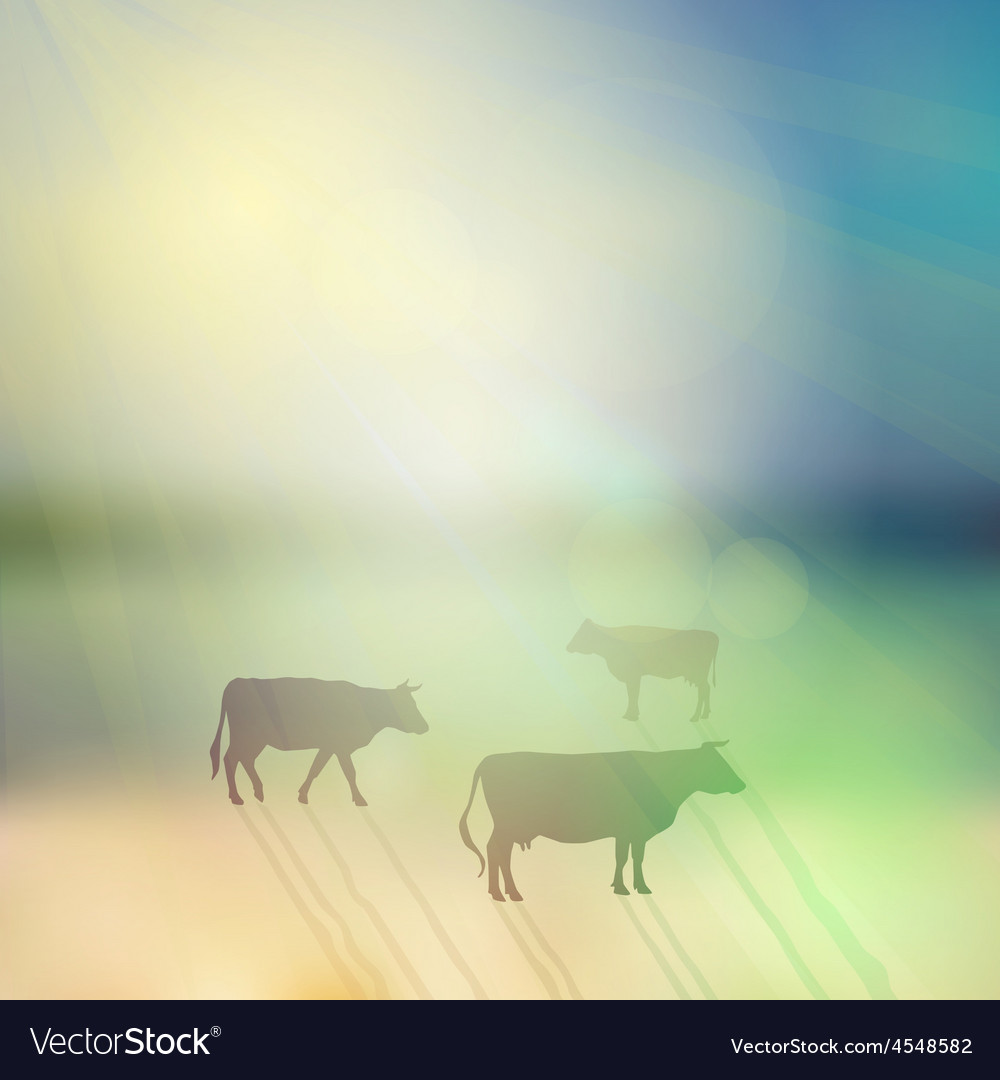 Cow set silhouette on sunny sky and grass vector | Price: 1 Credit (USD $1)