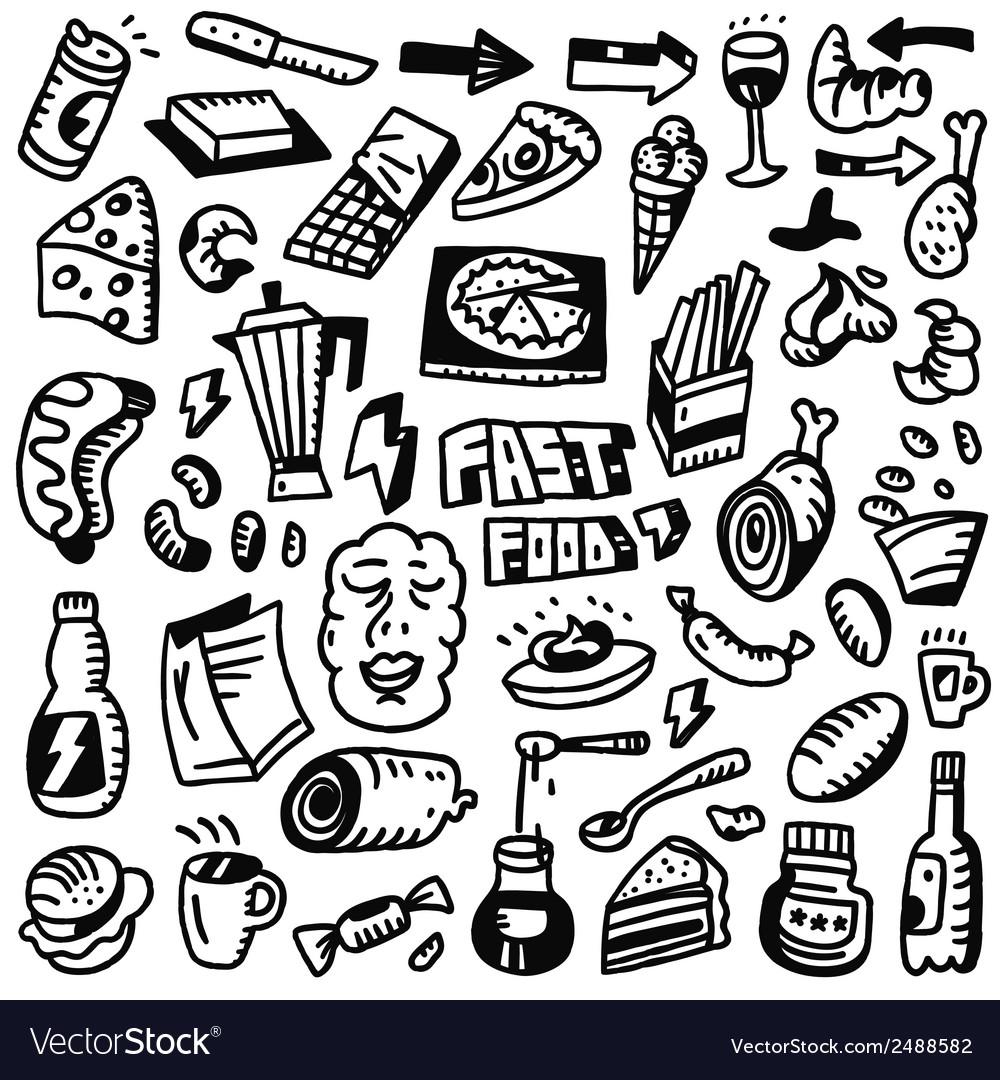 Fast food doodles set vector   Price: 1 Credit (USD $1)