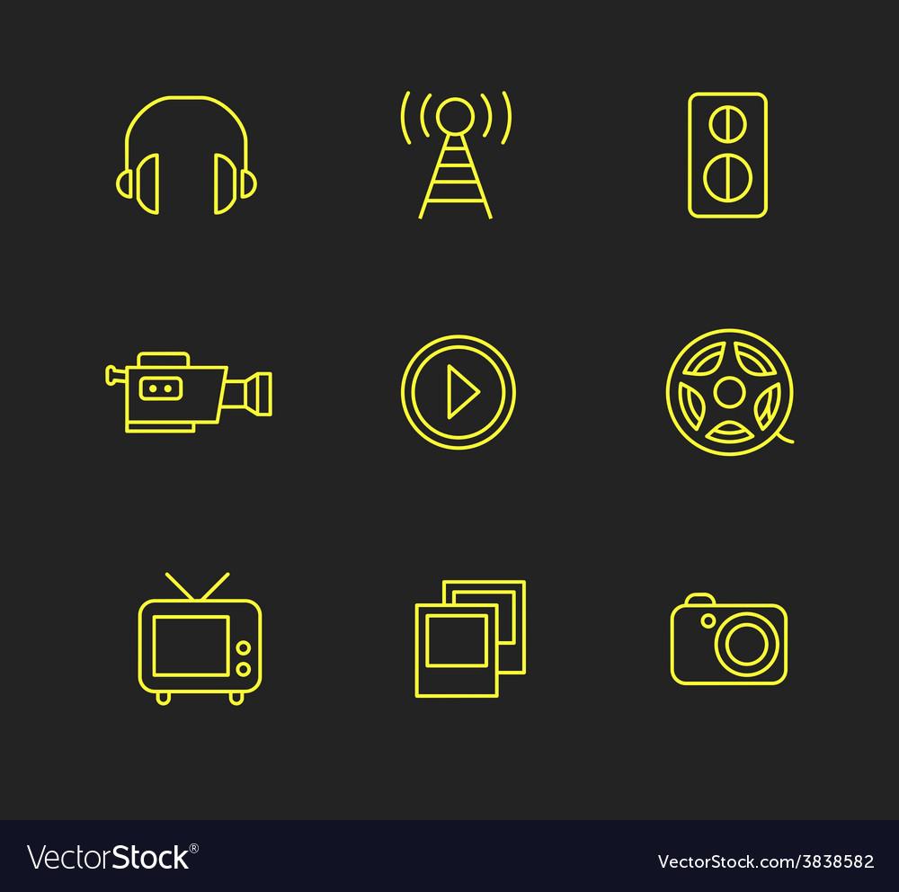 Media or multimedia icon set vector   Price: 1 Credit (USD $1)