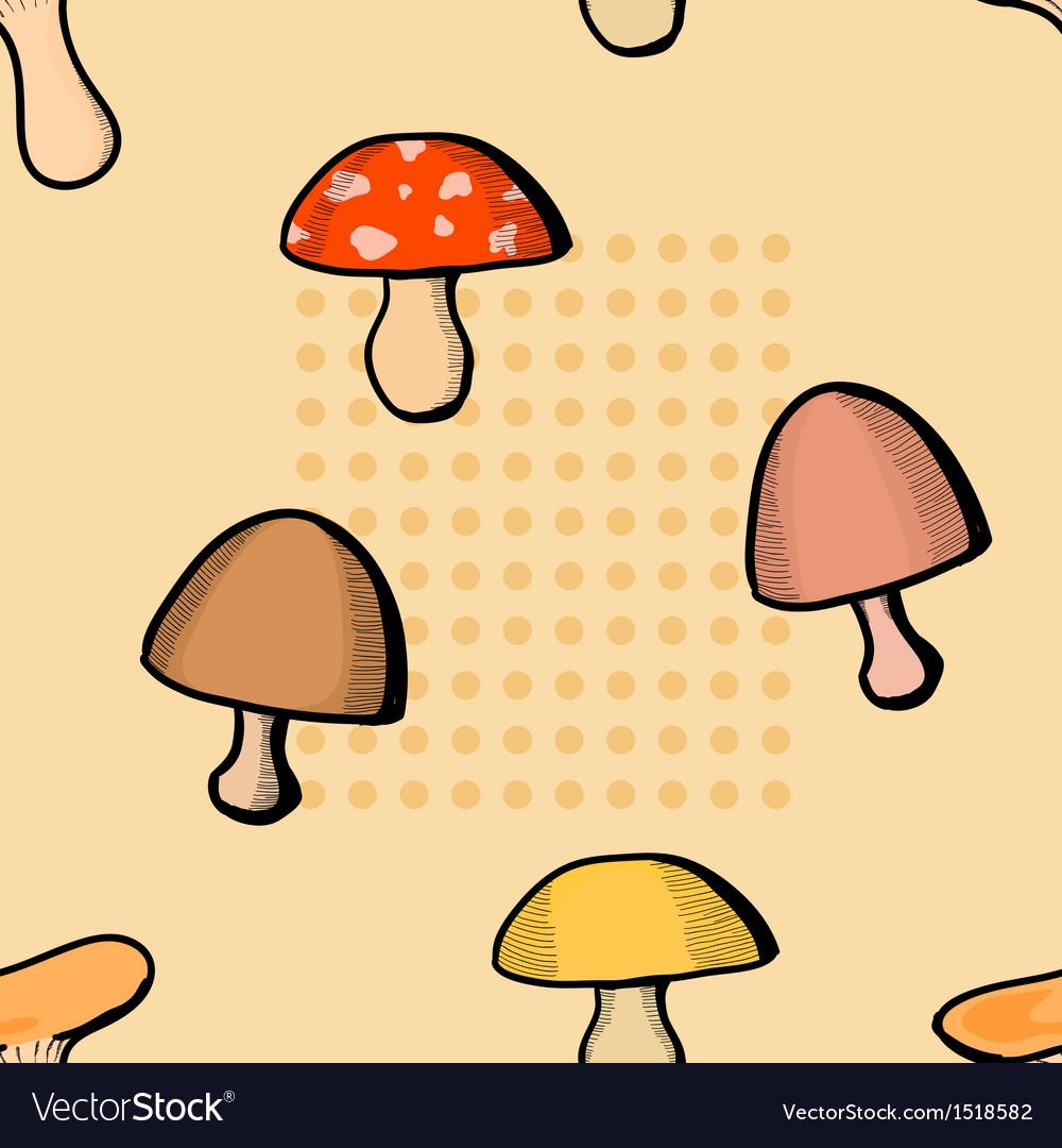 Mushroom seamless pattern vector | Price: 1 Credit (USD $1)