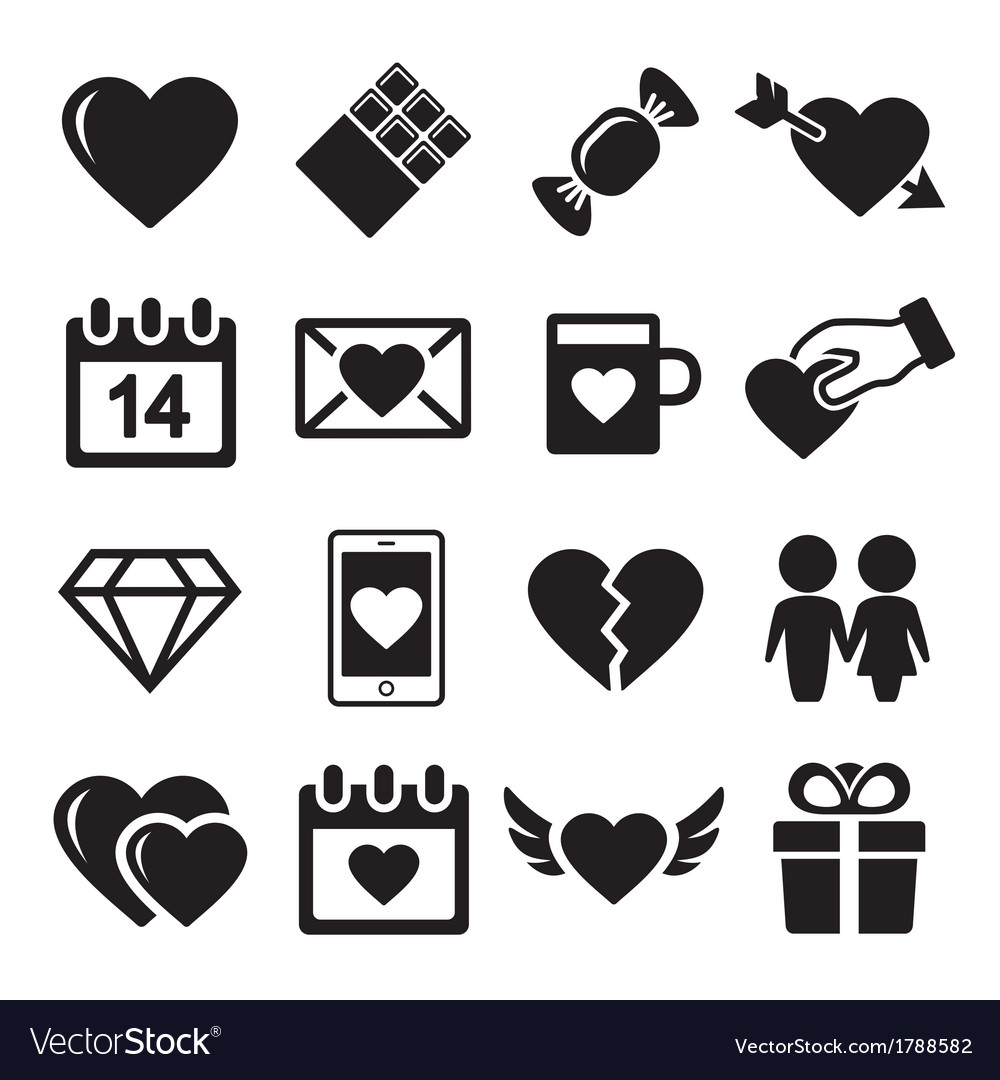 Valentine day love icons set vector | Price: 1 Credit (USD $1)